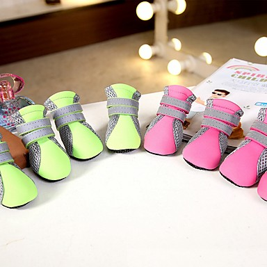 Dog Boots / Shoes Casual/Daily Cosplay Keep Warm Snow Boots Sports Solid Green Pink For Pets