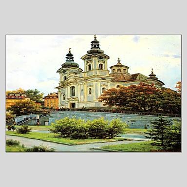 Maalattu Maisema Vaakatasoinen panoraama, Abstrakti Kangas Hang-Painted öljymaalaus Kodinsisustus 1 paneeli