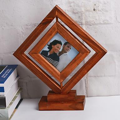 Picture Frames Casual Retro Novelty Wooden 1 Square Pine Table Desktop Decoration