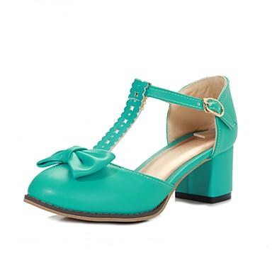 Mulheres Sapatos Sintético Couro Ecológico Verão Outono Conforto Inovador Saltos Caminhada Salto Robusto Ponta Redonda Laço para