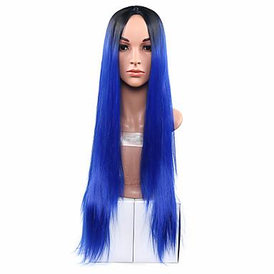 Cabelo Sintético perucas Reto Cabelo Ombre Sem Touca Peruca Natural Longo Marrom Azul