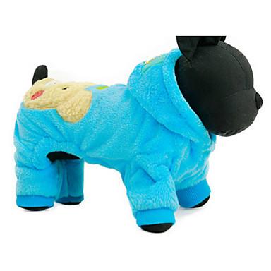 Dog Hoodie Dog Clothes Cartoon Fuchsia Blue Plush Fabric Costume For Pets Casual/Daily
