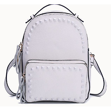 Women's Bags PU Backpack for Casual All Seasons Blue White Blushing Pink