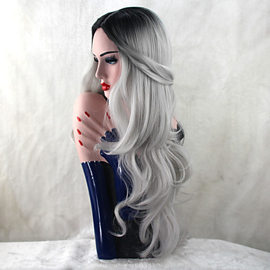 Synthetic Wig Body Wave Synthetic Hair Heat Resistant / Dark Roots / Natural Hairline Gray Wig Women's Long Capless Grey