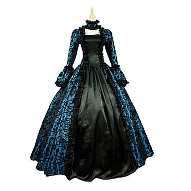 Платья/Платья Готика Steampunk® Викторианский стиль Косплей Платья Лолиты Синий Лиловый Красный Винтаж Длинный рукав Длинный Платье Для