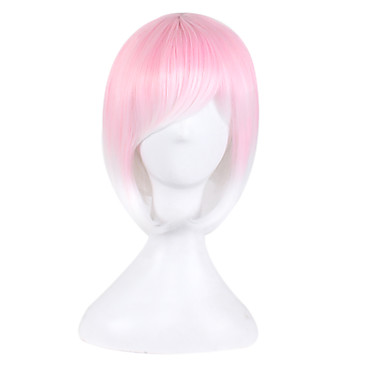 Blonde Europe and America Anime Fake White Pink Gradient Bobo Wig Short Hair 10inch
