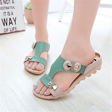 Women's Shoes PU Spring Comfort Sandals For Casual Green Almond