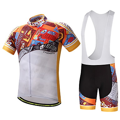 Men's Cycling Jersey with Bib Shorts Bike Clothing Suits, Quick Dry, Summer