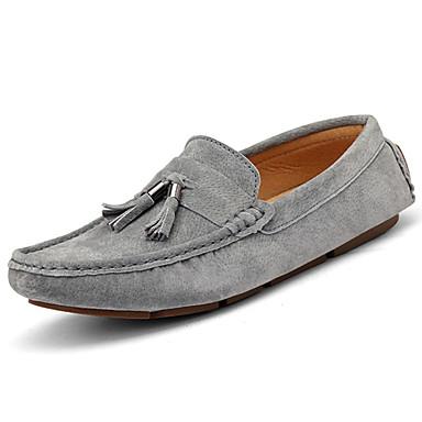 Men's Moccasin Cowhide Spring / Fall British Loafers & Slip-Ons Walking Shoes Blue / Dark Brown / Khaki / Tassel
