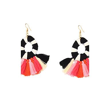 Women's Luxury Tassel Bohemian Drop Earrings - Luxury Unique Design Tassel Bohemian Fake Sideways Adjustable Stretch Pink As Picture