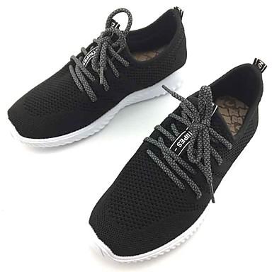 Mulheres Sapatos Tecido Primavera Outono Conforto Tênis Caminhada Sem Salto Ponta Redonda Cadarço para Casual Ao ar livre Preto Cinzento