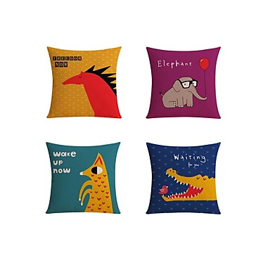 4 pcs Linen Pillow case Sofa Cushion Travel Pillow Body Pillow Bed Pillow Pillow Cover, Quotes & Sayings Graphic Prints Wildlife Casual