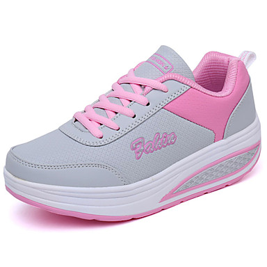 Women's Shoes PU(Polyurethane) Spring / Fall Comfort Athletic Shoes Flat Heel Black / Blue / Pink