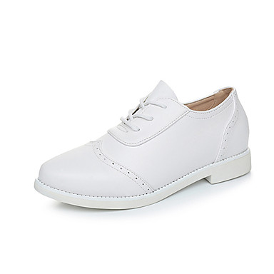 Women's Shoes Leather Spring Fall Comfort Light Soles Flats Low Heel Pointed Toe Lace-up Split Joint for Casual White Black