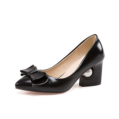 Mulheres Sapatos Couro Ecológico Sintético Verão Outono Inovador Conforto Saltos Caminhada Salto Robusto Dedo Apontado Laço para