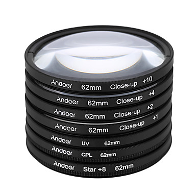Andoer 62mm UV CPL Star8Close-up (1 2 4 10) Photography Filter Ultraviolet Circular-Polarizing Star 8-Point Macro Close-up Lens Filter