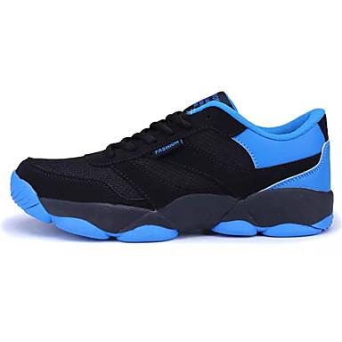 Homens sapatos Couro Ecológico Tule Primavera Outono Conforto Tênis Corrida Cadarço para Atlético Casual Laranja Vermelho Azul