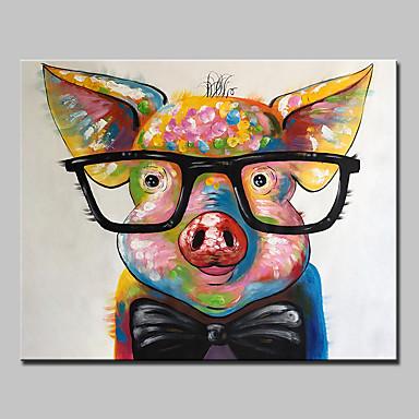 Pintura a Óleo Pintados à mão - Animais Abstracto Modern Tela de pintura