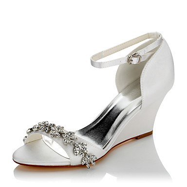 Women's Shoes Satin Summer / Fall Comfort Sandals Wedge Heel Open Toe Chain White / Wedding / Party & Evening