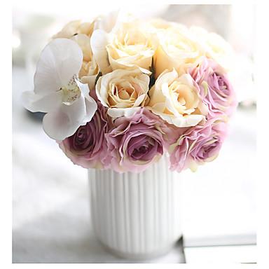 Flores artificiais 1 Ramo buquês de Noiva Rosas Flor de Mesa