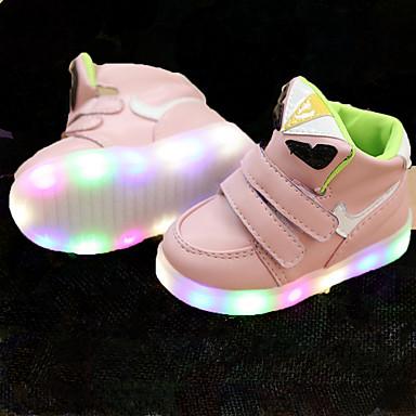 Jente sko Kunstlær Lær Vår Sommer Høst Lysende sko Treningssko Gange LED Magisk teip til Avslappet utendørs Hvit Svart Grønn Rosa