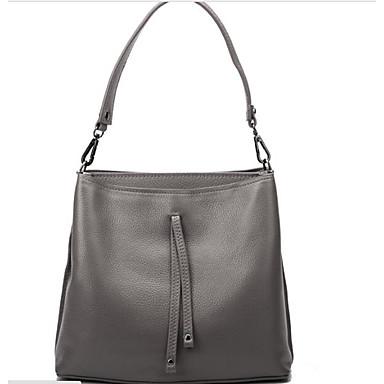 Women Shoulder Bag Cowhide All Seasons Casual Outdoor Round Zipper Black Gray Wine