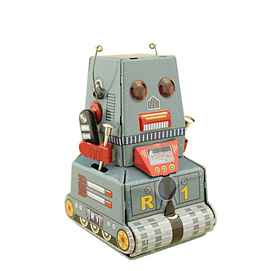 Robot Wind-up Toy Toys Retro Square Tank Machine Robot Wrought Iron Iron Vintage Retro Pieces Not Specified Gift