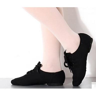 billige Jazz-sko-Dame Dansesko Lerret / Tekstil Jazz-sko Flate / Høye hæler Flat hæl Kan spesialtilpasses Svart / Trening
