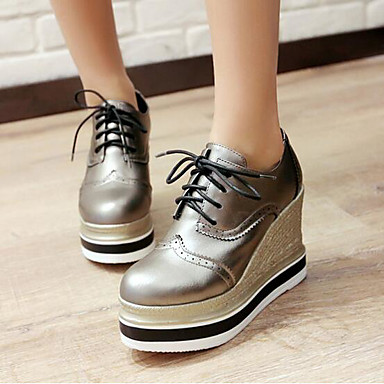 Women's Shoes PU Spring Comfort Oxfords for Casual White Black Silver