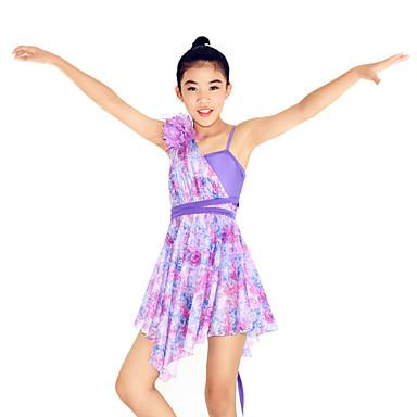 Dança Latina Vestidos Mulheres Crianças Actuação Náilon Chinês Elastano Pano 2 Peças Sem Mangas Natural Vestido Tiaras