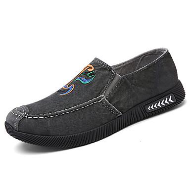 Homens sapatos Lona Primavera Outono Conforto Mocassins e Slip-Ons Caminhada Estampa Animal para Casual Azul Escuro Cinzento