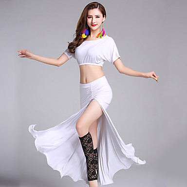 Belly Dance Outfits Women's Performance Modal Split Front Short Sleeve Natural Skirts Top