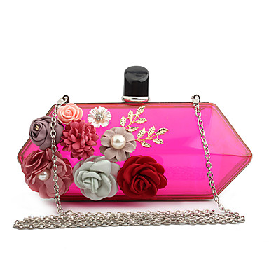 Women's Bags Special Material Evening Bag Appliques for Wedding / Event / Party / Formal Red / Yellow / Fuchsia