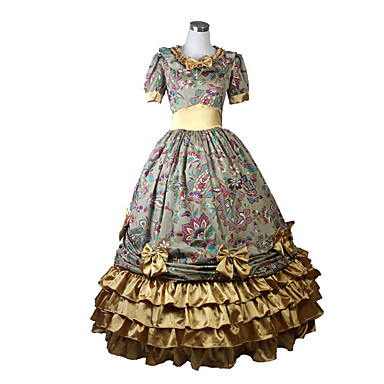 Victorian Rococo Costume Women's Girls' Dress Masquerade Golden Vintage Cosplay Padded Fabric Short Sleeves Ankle Length