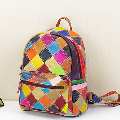 Women's Bags Cowhide Backpack for Casual Rainbow