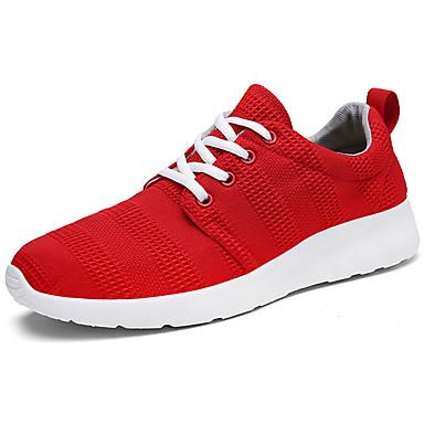 Homens sapatos Tule Primavera Outono Conforto Tênis Caminhada Cadarço para Casual Preto Cinzento Vermelho