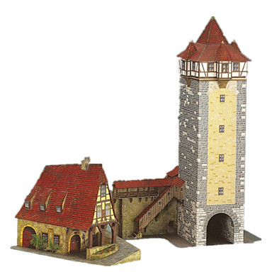 3D Puzzles Paper Craft Castle Tower Windmill Famous buildings Architecture DIY Hard Card Paper Classic Kid's Boys' Unisex Gift