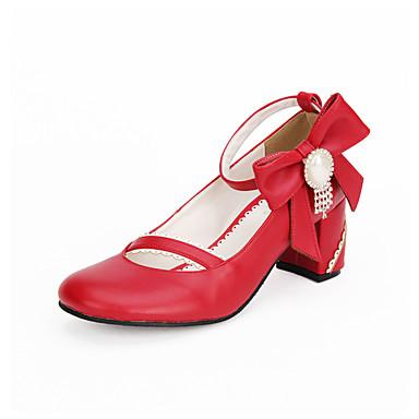 Rojos Lolita Zapatos Tacón Cuadrados bhyUO24zN