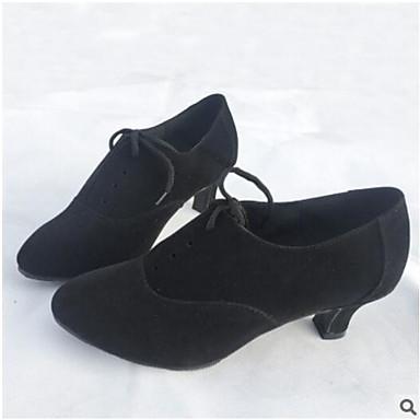 Women's Latin PU Heel Practice Black Red