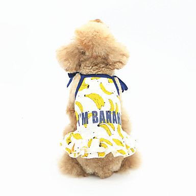 Dog Dress Dog Clothes Casual/Daily Fruit White Yellow Blue Costume For Pets