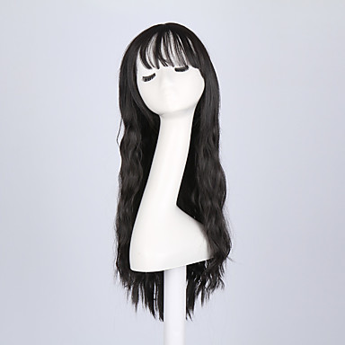 Perucas sintéticas Ondulado Preta Mulheres Sem Touca Peruca Natural Longo Cabelo Sintético