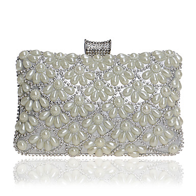 Damen Taschen PU Abendtasche Kristall Verzierung / Perlen Verzierung Schwarz / Silber / Rote / Hochzeitstaschen