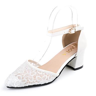 Mulheres Sapatos Tule Couro Ecológico Primavera Verão Rústico Conforto Fashion Sandálias Salto Robusto Ponta Redonda para Diário Social