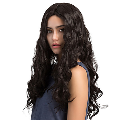 Synthetic Wig Wavy Synthetic Hair Middle Part Black Wig Women's Long Capless