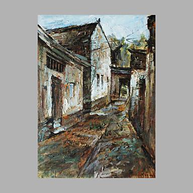 Pintura a Óleo Pintados à mão - Arquitetura Artistíco Abstracto Tela de pintura