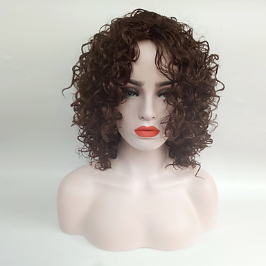 Synthetic Wig Curly Synthetic Hair African American Wig Brown Wig Women's Medium Length Capless