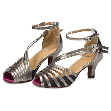 Women's Latin Shoes Silk Sandal Buckle Customizable Dance Shoes Gray / Rainbow / Performance / Leather