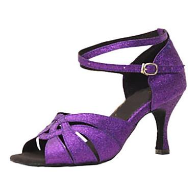 Mulheres Sapatos de Dança Latina Gliter Sandália Presilha Salto Agulha Personalizável Sapatos de Dança Roxo / Espetáculo / Couro