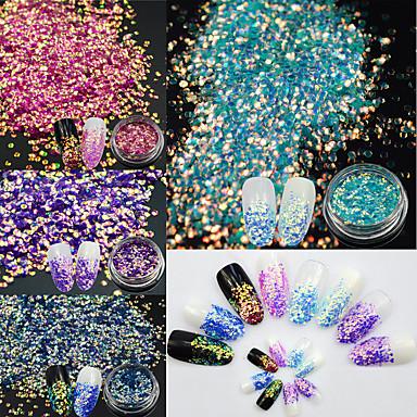 1set / 4pcs Glitter Powder Nail Art Tool Sequins 4 Colors nail art Manicure Pedicure Elegant & Luxurious / Sparkle & Shine
