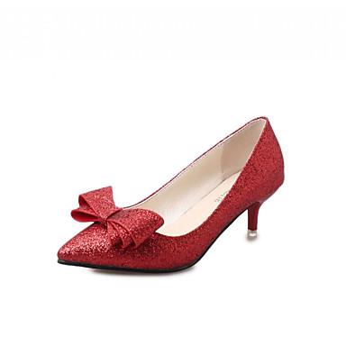 Mulheres Sapatos Sintético Couro Ecológico Primavera Outono Conforto Inovador Saltos Caminhada Salto Sabrina Dedo Apontado Laço para
